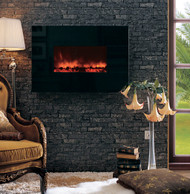 "38"" wall mounted electric fireplace with optional absolute black granite surround"