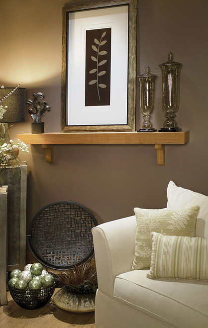 The Bellemy mantel shelf will has clean lines and corbel brackets.  A transitional style for almost any room.