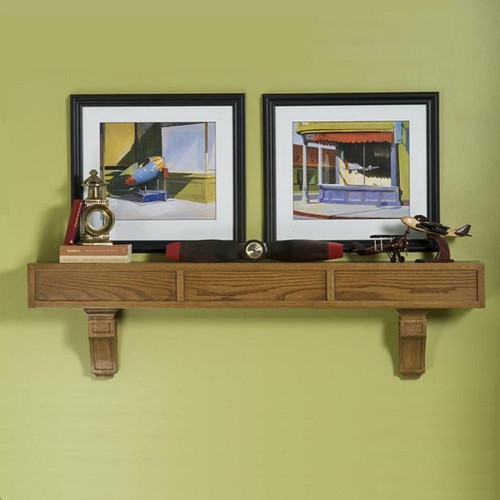 A true Mission style mantel shelf with corbels.  Shown in oak