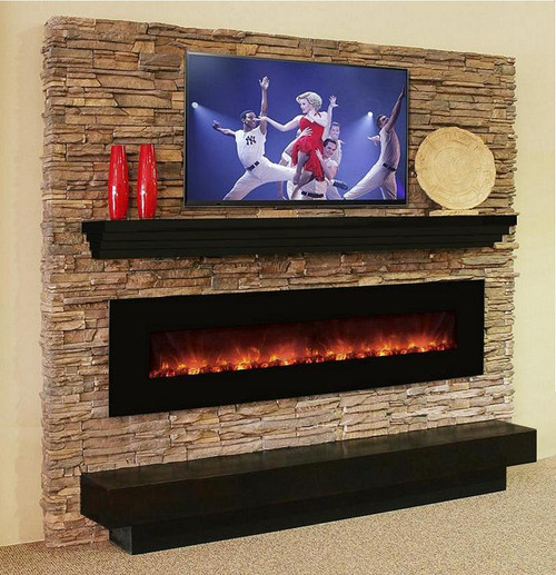 This modern mantel shelf has a tiered effect and is very contemporary
