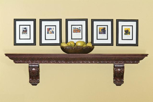 The lovely Acanthus mantel shelf is hand-carved and customizable