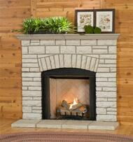 Stacked Stone Fireplace Mantel