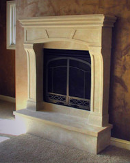 Nicely arched non-combustile fireplace mantel