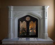 The Gothic Stone Mantel in two sizes. Trefoil design in the spandrels. Wrought iron doors not included