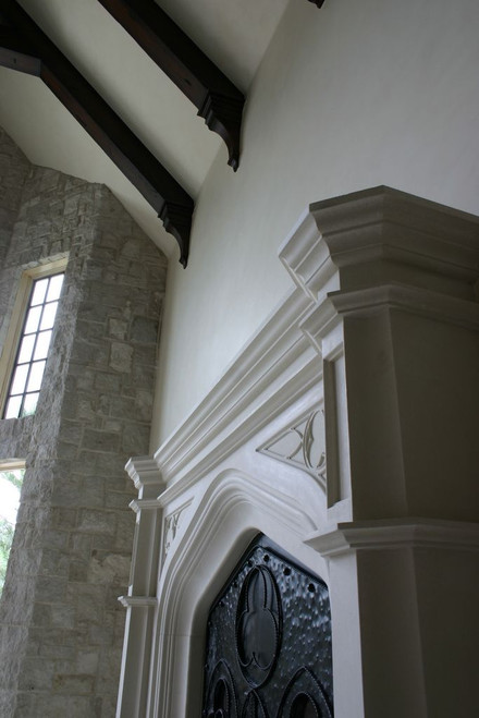 Our Gothic Stone Mantel with trefoil and Tudor styling
