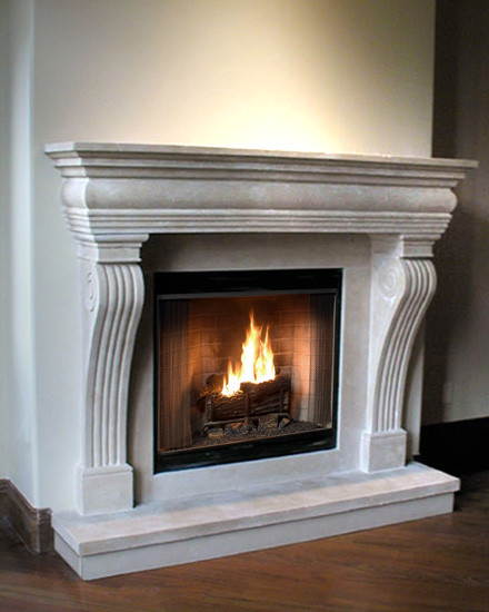 Purchase the Regal cast stone fireplace mantel with both traditional and contemporary elements. Custom up to an 84-inch shelf.