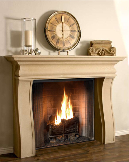 The Wave is a modern stone mantel with some traditional styling