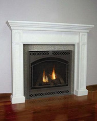 A stone mantel with traditional lines