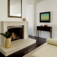 The Ventura modern stone mantel in Linen