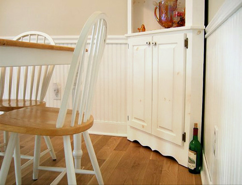 Bead Board with Large Chair Rail and Quarter Round Shoe Molding - Painted White
