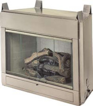 The Odyssey is a stainless steel outdoor fireplace with vent free gas logs