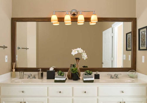 Wakefield Bathroom Mirror makeover.  Tuscan Coffee finish