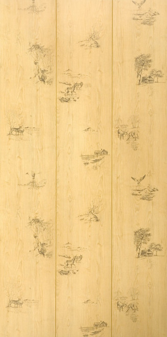 "Full 4 x 8 Sheet of Hunter's Woods Rustic Paneling - grooves every 16"" and random outdoor scenes"