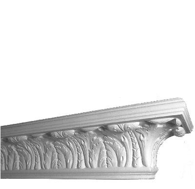 "69"" paintable, cast plaster shelf.  In detail"