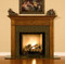 The Hanceville fireplace mantel is shown here with a granite facing kit.