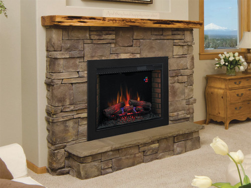 33II310GRA Classic Flame electric fireplace with BBKIT33 trim/surround kit  installed in a stone fireplace - Electric Fireplace Insert Classic Flame 33II310GRA LED