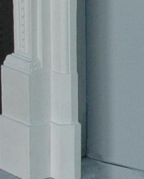 "Marble Mantel Leg Block Plinth Risers.  Also showing approximately 5 3/4"" Return Depth"