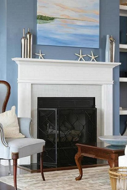 A contemporary mantel painted white will brighten your space!