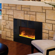 Built-in electric fireplace installed in a stone facade wall