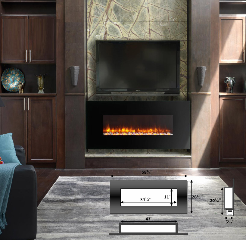 Electric Fireplaces | Wall Mount | LED | 58 inch | Dynasty