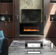 The EF69 linear electric fireplace, with your choice of Log Coals or Pebbles.  LED