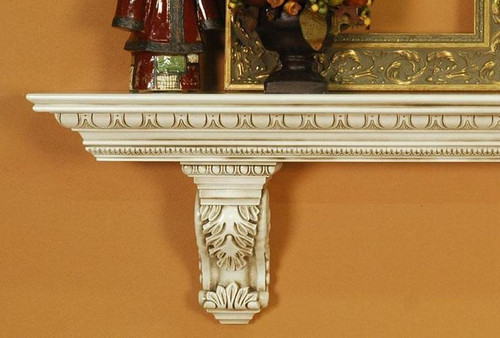 A heavy, large mantel shelf with solid wood acanthus leaf ...