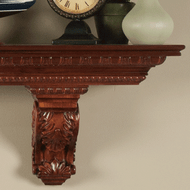 Athenia Wood Mantel Shelves shown with solid Cherry Wood Corbels