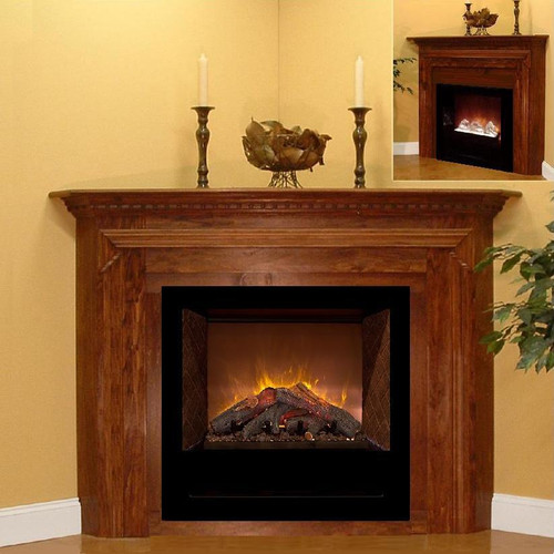 West Brook corner mantel by Design The Space, for many electric fireplaces, like the HF36 by Modern Flames.  Shown with optional Riser in the main photo, and shown with optional extra tall Header in the upper right corner