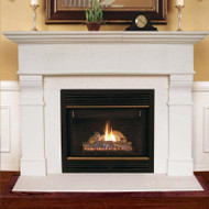 This transitional stone fireplace mantel adjusts to fit a variety of fireplace sizes