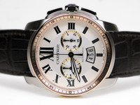 Cartier Watch - Caliber de Cartier Chronograph Steel and Pink Gold