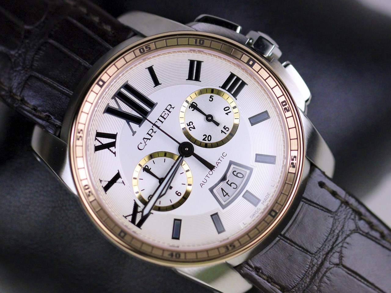 Cartier Watches Caliber De Cartier Silver Dial Pink Gold ...