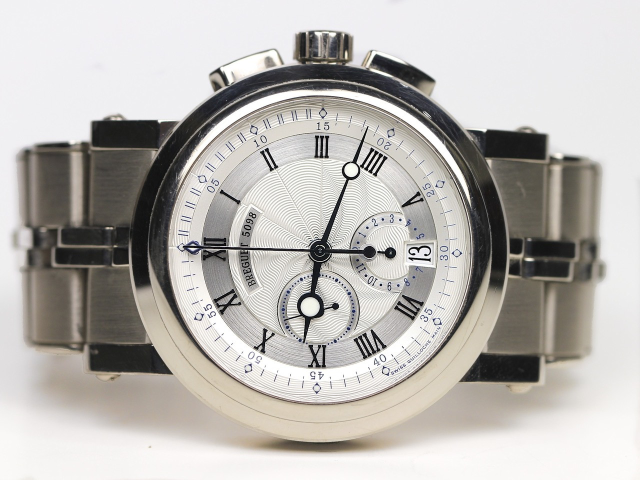 Breguet watch marine chronograph white gold 5827 swiss for Marine watches