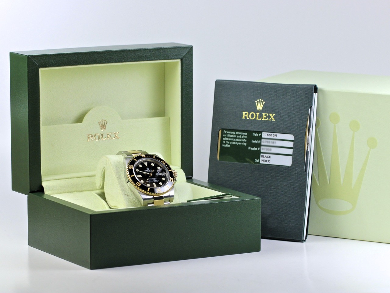 Complete - Rolex Watch Submariner Steel and Gold 116613 - www. Legendoftime.com - Chicago Watch Center