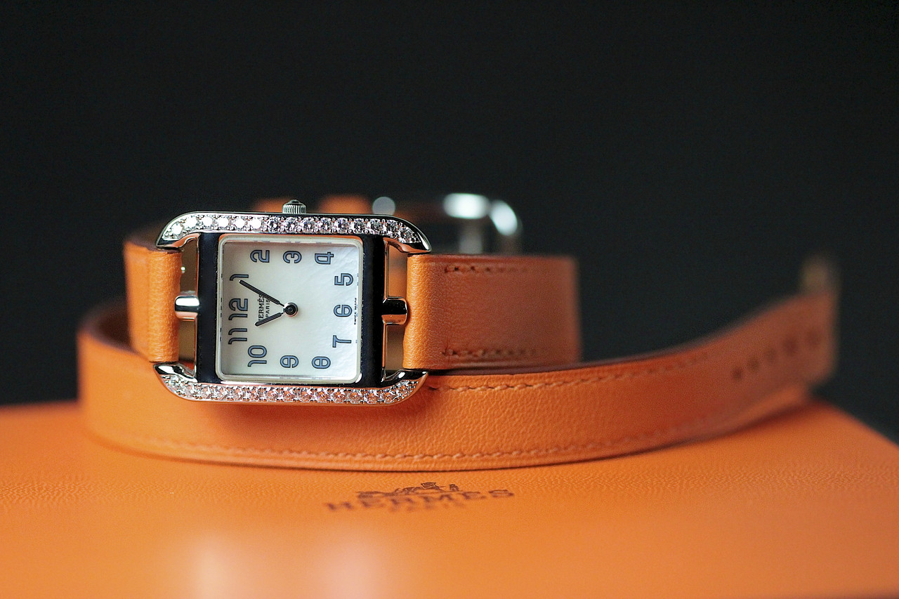 Orange Double Leather Strap - Hermes Watch - Cape Cod White Gold with Diamonds, Pre-Owned, www.Legendoftime.com - Chicago Watch Center