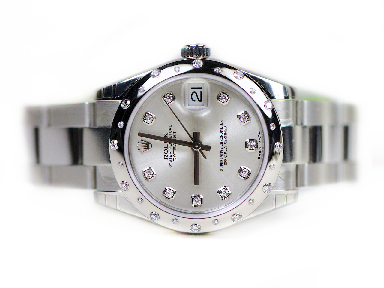 Rolex watch datejust lady 31 steel diamonds 178344 from legend of time chicago watch center for Rolex date just 31