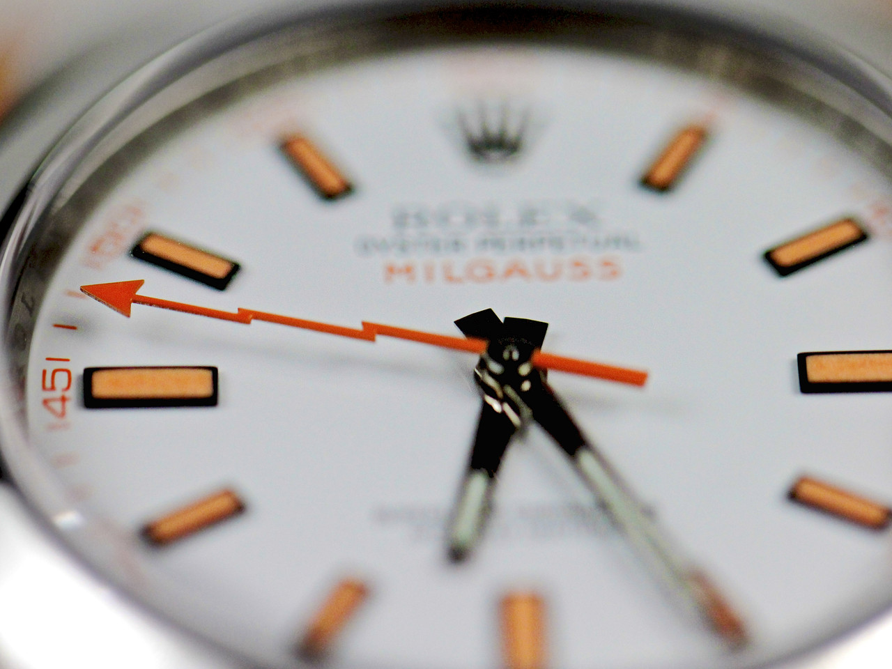 White Dial & Orange Hour Markers - Pre-Owned Rolex Watch - Milgauss White Dial 116400 www.Legendoftime.com Chicago Watch Center