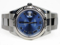 Rolex Watch - Datejust II Blue Dial White Gold Bezel Roman Numerals