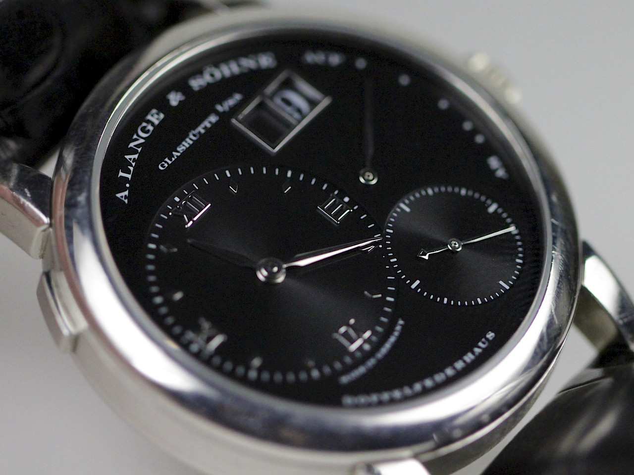 """Black Rhodium Dial """"Darth"""" close -up detail - A Lange & Sohne Watch - Lange 1 Black Darth Dial 101.035 pre-owned for sale Legend of Time - Chicago Watch Center"""