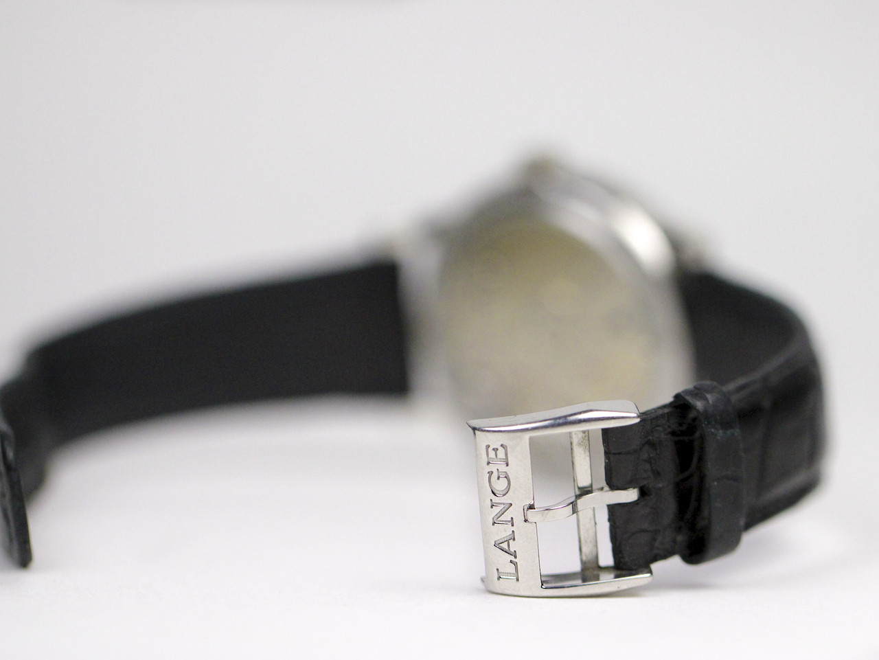 Platinum Tang Buckle - A Lange & Sohne Watch - Lange 1 Black Darth Dial 101.035 pre-owned for sale Legend of Time - Chicago Watch Center