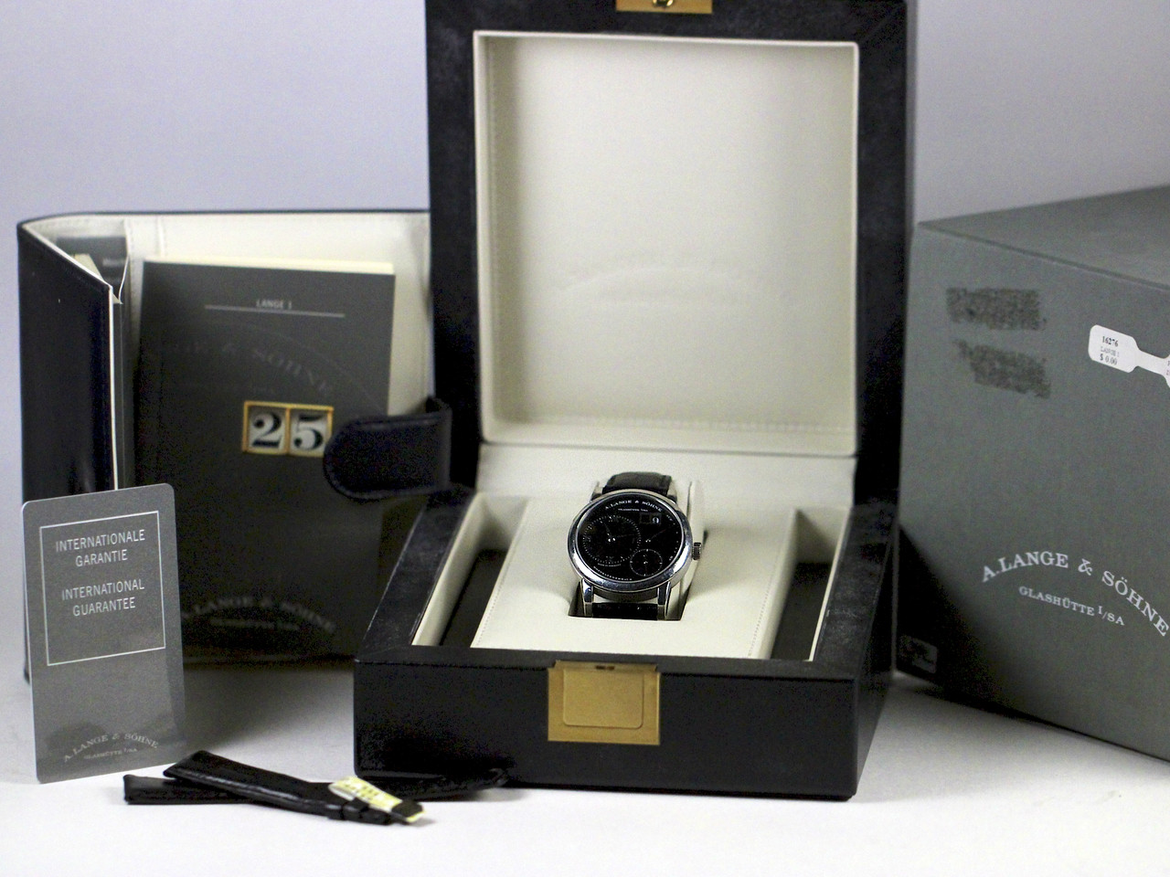 Complete with Double Box & Paperwork, New Black Leather strap - A Lange & Sohne Watch - Lange 1 Black Darth Dial 101.035 pre-owned for sale Legend of Time - Chicago Watch Center