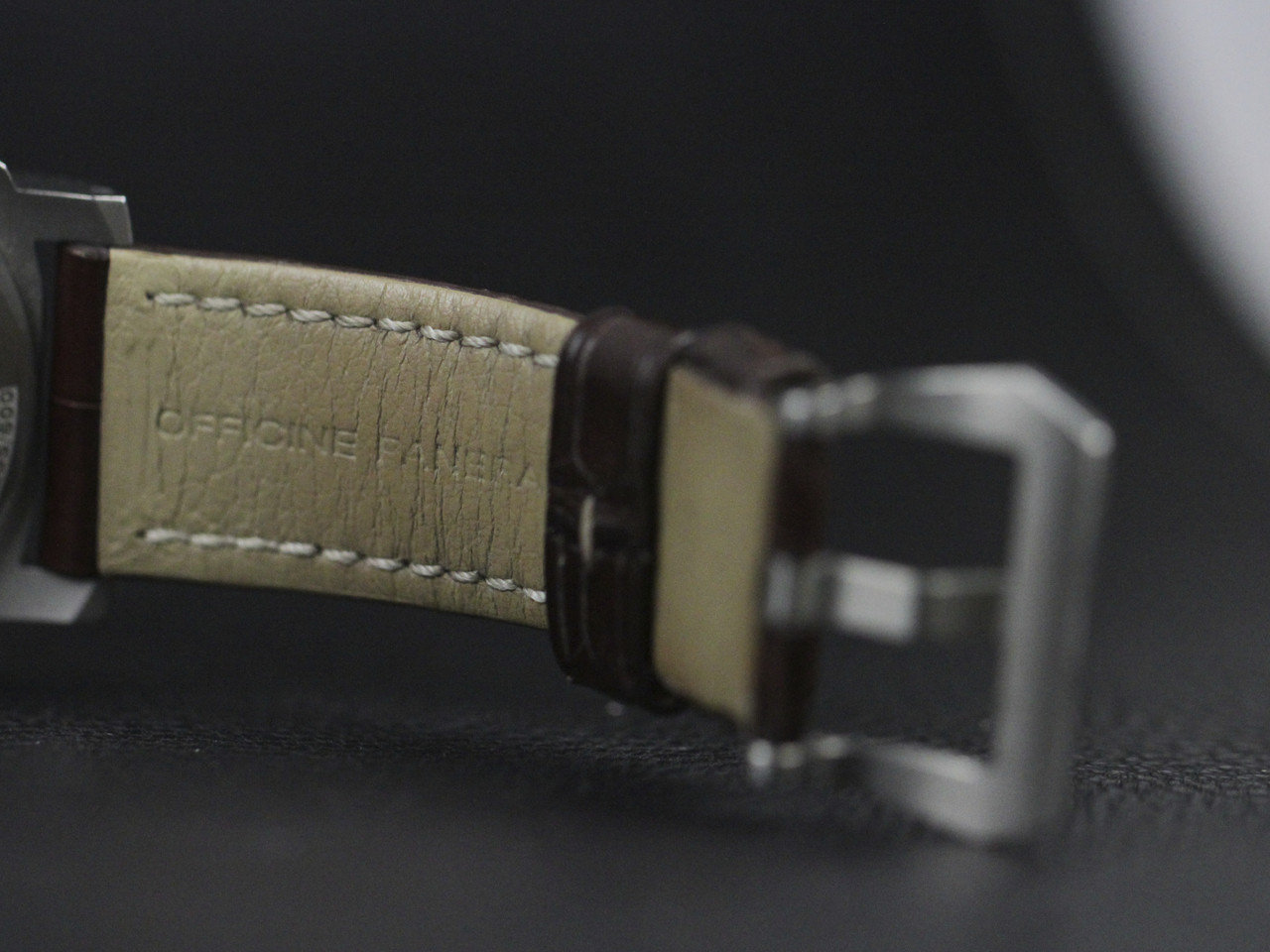Leather Strap - Pre-owned Panerai Watch - Luminor Base PAM00176 Titanium available for sale Legend of Time - Chicago Watch Center