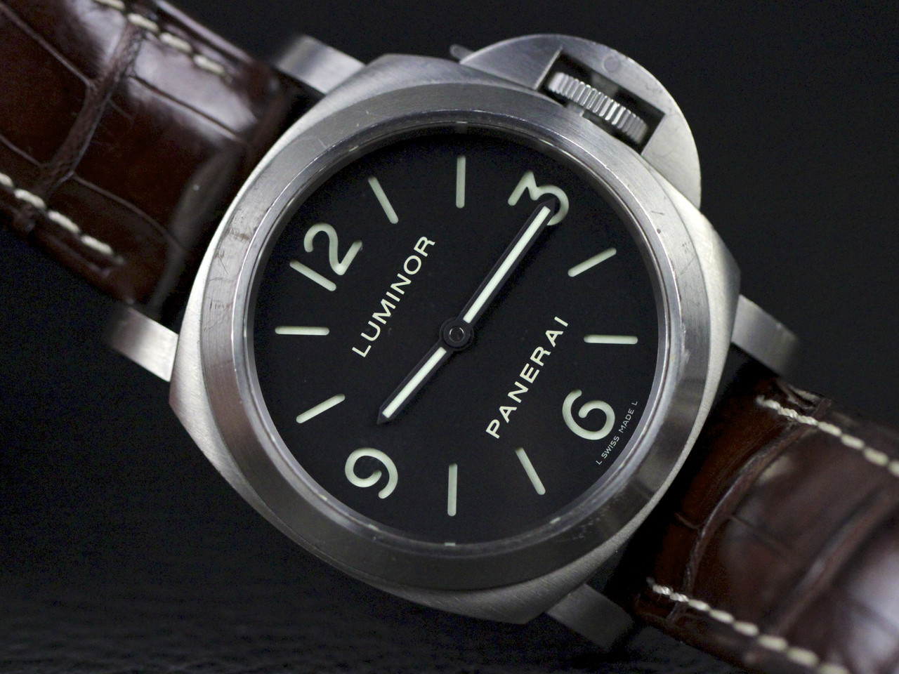 "Black ""Panerai sandwich"" dial with luminous green hour markers - Pre-owned Panerai Watch - Luminor Base PAM00176 Titanium available for sale Legend of Time - Chicago Watch Center"