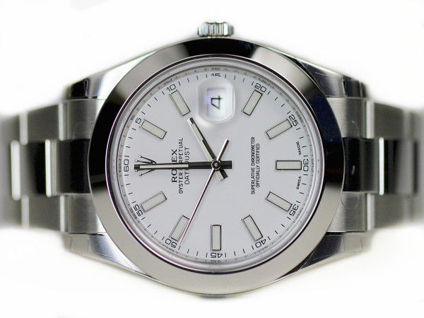 New for Sale Rolex Watch - Datejust II White Dial, Smooth Steel Bezel, Stick Hour Markers 116300 for sale online www.Legendoftime.com and in store Legend of Time - Chicago Watch Center