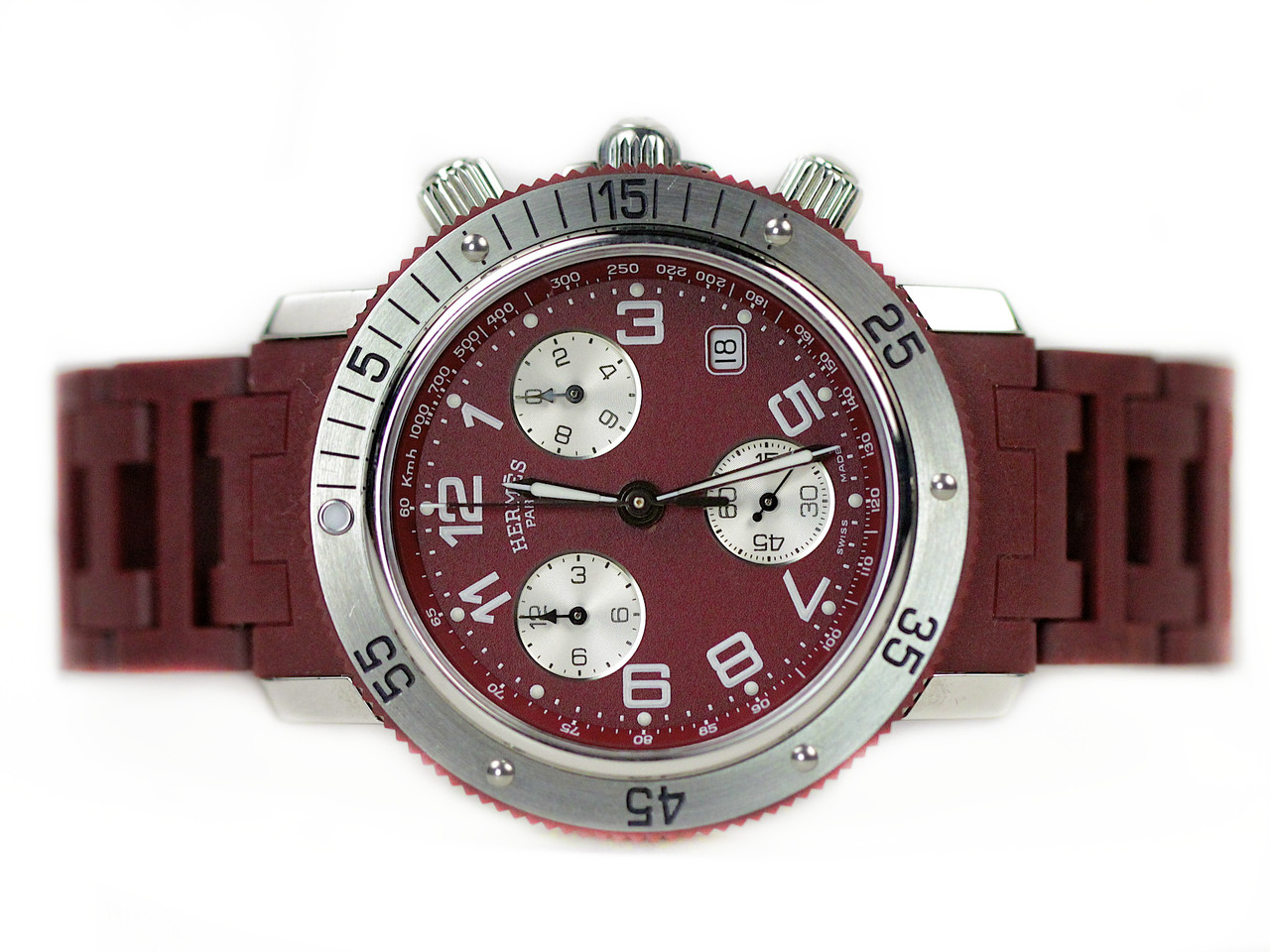 For Sale used Hermes Watch - Clipper Chronograph Diver CL2.918 Bordeaux online www.Legendoftime.com & in store Chicago Watch Center