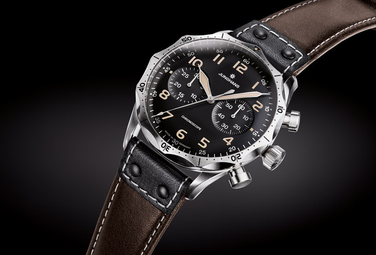 New for sale -  Junghans Watch Meister Pilot Chronoscope Brown Dial Numerals 027/3591.00 - available online www.Legendoftime.com and in store Legend of Time Chicago Watch Center