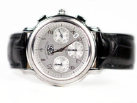 For sale used Maurice Lacroix Watch Flyback Chronograph Masterpiece Annual MP6098-SS001-12E Stainless Steel, Silver Dial Blued Steel Hands, Available in store Chicago Watch Center and online www.Legendoftime.com
