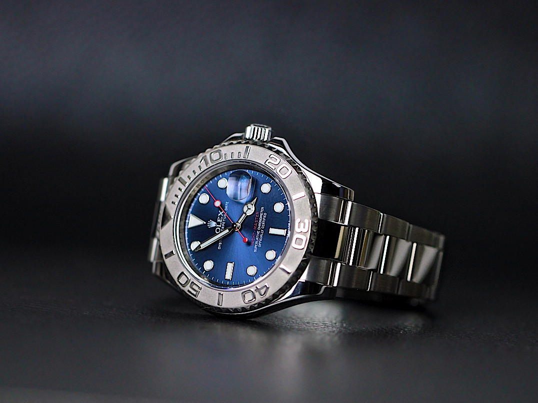 Rolex Watch Perpetual Yacht-Master 40 Steel Platinum Blue dial 116622 bl used available for sale Legend of Time Chicago Watch Center