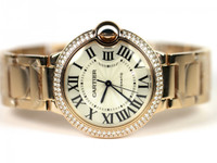 Cartier Watch - Ballon Bleu Pink Gold with Diamonds Medium