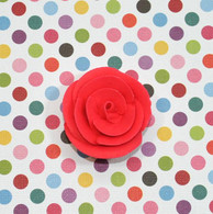 "1"" Small Classic Royal Icing Rose - Red (10 per box)"