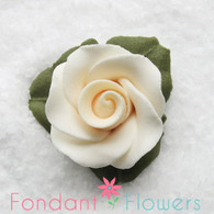 "1"" Rose w/ Icing Leaves -  Ivory (10 per box)"